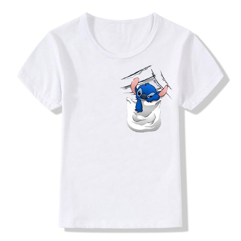 ZSIIBO Baby girls clothes Children Boys t-shirt Funny Stitch Pocket cat Cartoon O-neck Short Sleeve Cotton Tees Kids tops