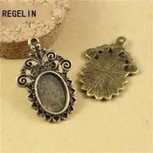 REGELIN wholesale Antique Tone zinc Alloy 14 *10 mm necklace accessory Charm Tray 10pcs/lot jewelry findings C736