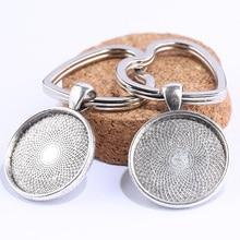 onwear 3pcs antique silver diy cabochon keychain base 25mm round blank key chain bezel settings metal keyring accessories