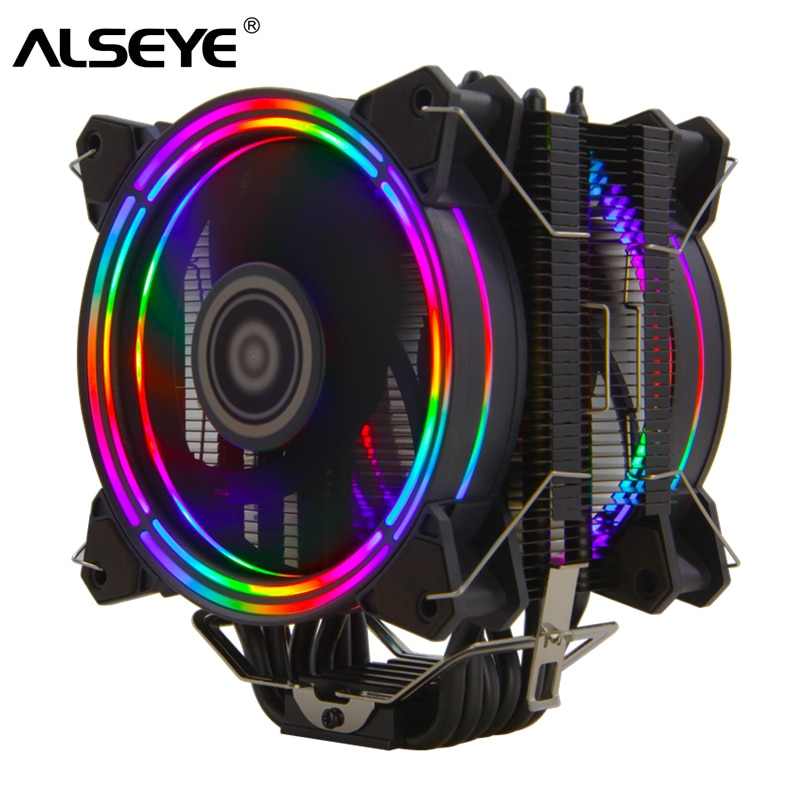 ALSEYE H120D CPU Cooler RGB Fan 120mm PWM 4 Pin 6 Heat Pipes Cooler for LGA 775 115x 1366 2011 1200 AM2+ AM3+ AM4 support X99