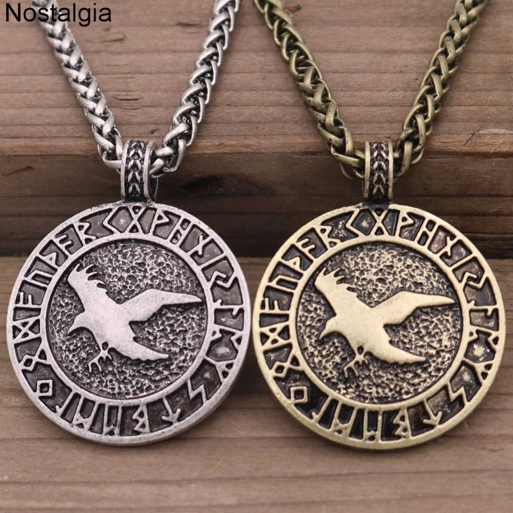 Nostálgica Odin Cuervo amuleto nórdico rúnico joyas de runas collar vikingo Dropshipping 2019 nuevas llegadas