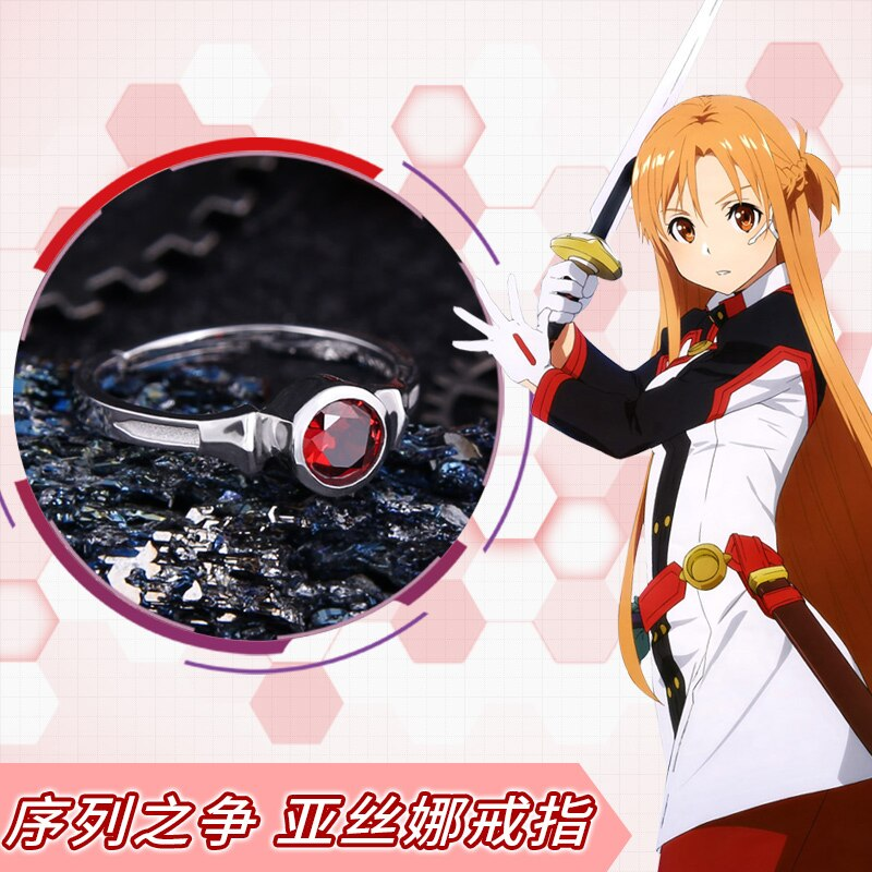 Luxo anime espada arte em linha kirito cosplay yuuki asuna sao 925 anel de prata adereços ajustáveis jóias novo