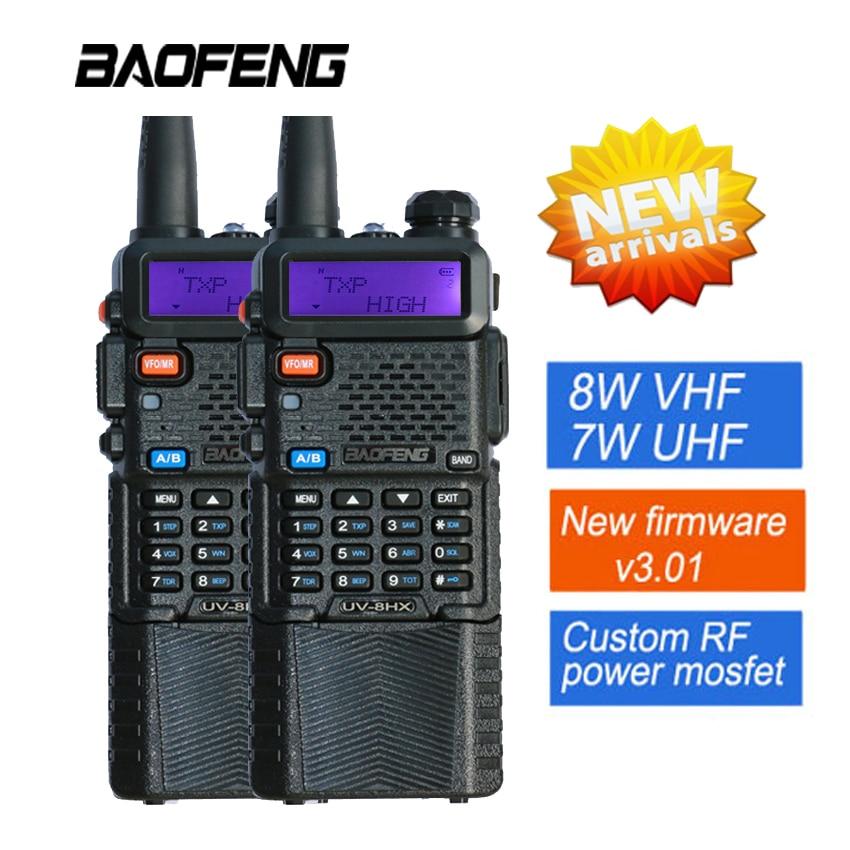 2PCS New Baofeng 8W UV-8HX 3800 mAh Walkie Talkie Portable Interphone Pofung UV-5R Ham Radio Dual Band Handheld Amateur Radio