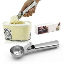 Colher de gelo de aço inoxidável colher de sorvete para frutas colher de massa de biscoito com gatilho congelado iogurte sorbet ice ball maker