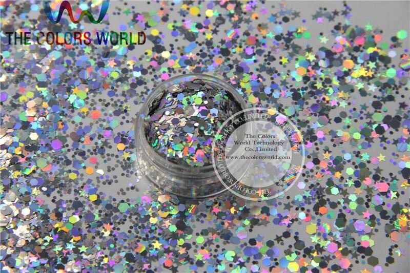 Lentejuelas de brillo resistentes a solventes de colores plateados holográficas ASL25151-106 para uñas acrílicas, suministros DIY
