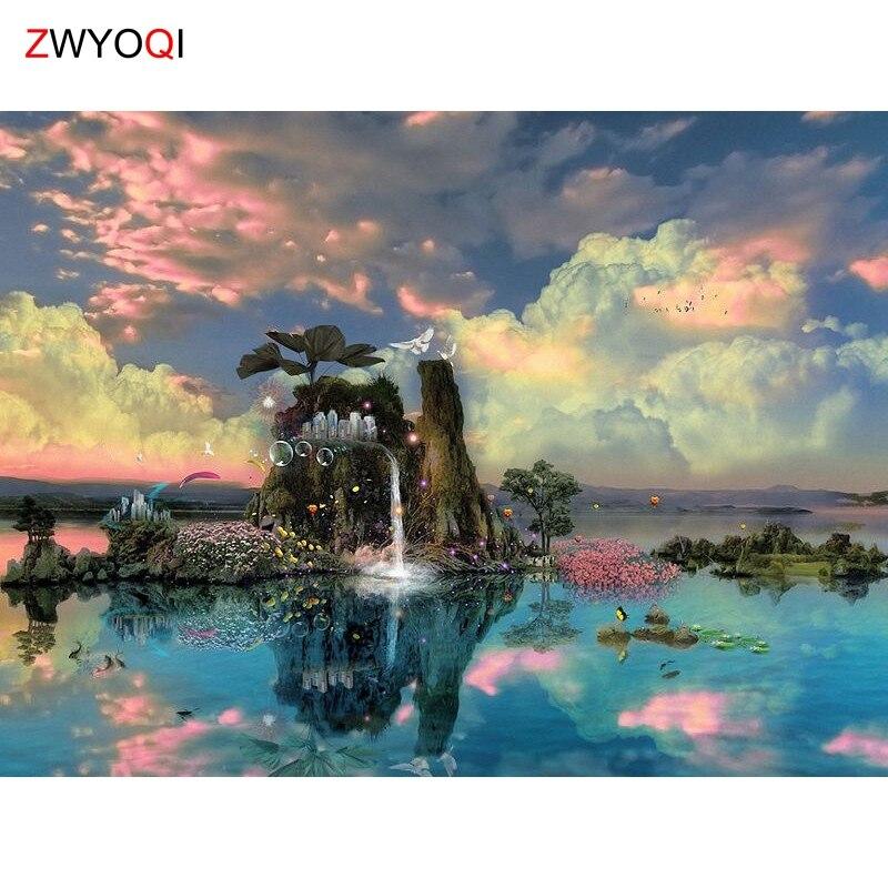 Mosaico de diamantes redondos DIY, pintura de diamantes en 3D, cuadro completo de diamantes, bordado de punto de cruz, cielo, montaña, lago, Paloma árbol, Nube