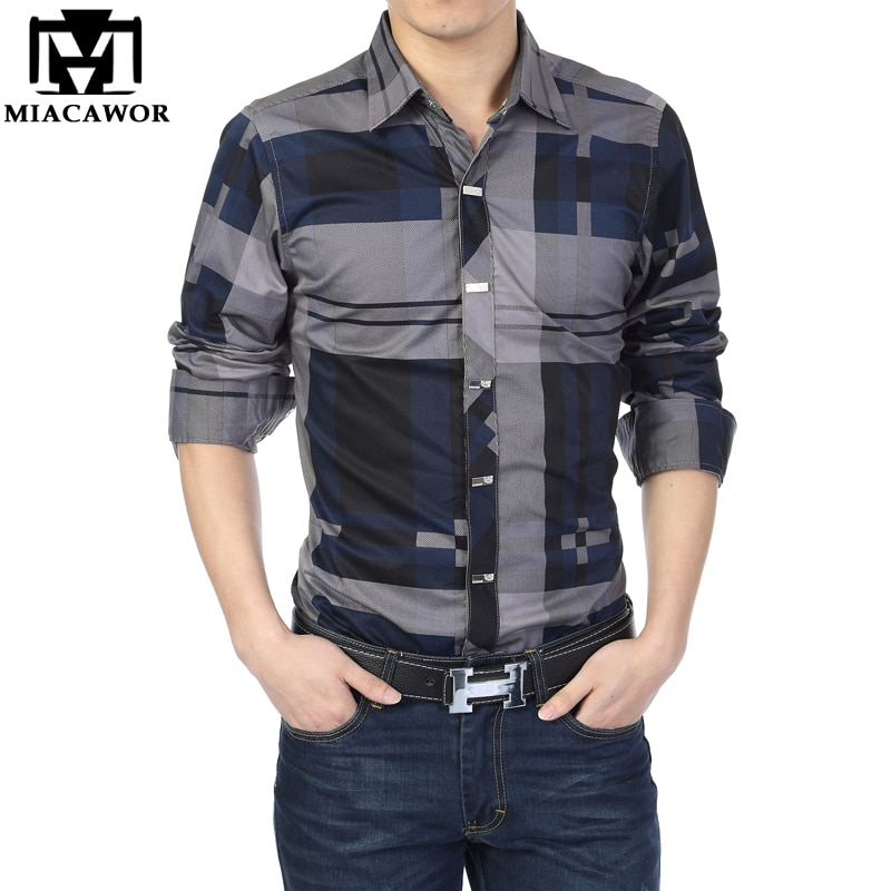 MIACAWOR Brand Shirt Men 100% Cotton Casual Shirts Slim Fit Men Plaid Shirt Long sleeves Camisa Hombre Camisa Masculina C006