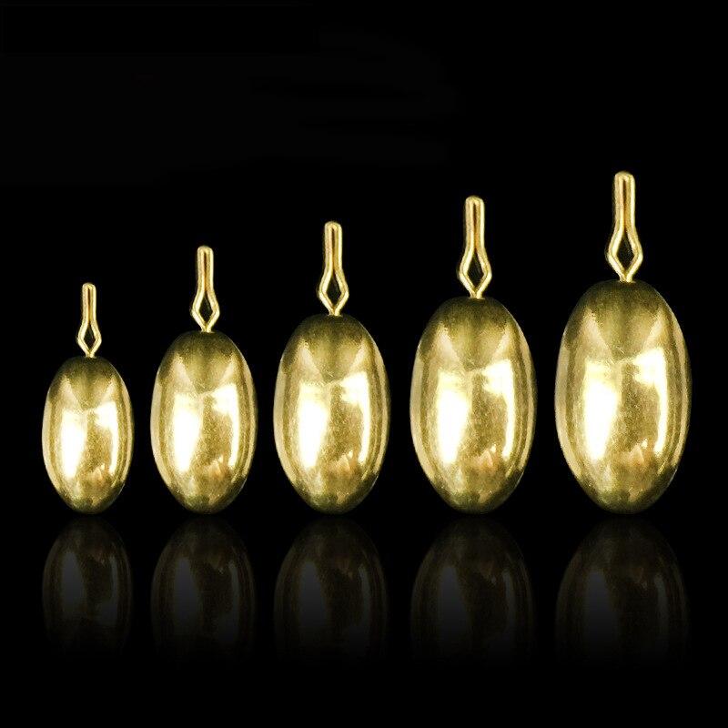 50 шт. овальные латунные рыболовные грузило 1,8 г 3,5 г 5 г 7 г 10 г разделенный свинцовый грузило падение выстрел снаряжение медное грузило набор ...