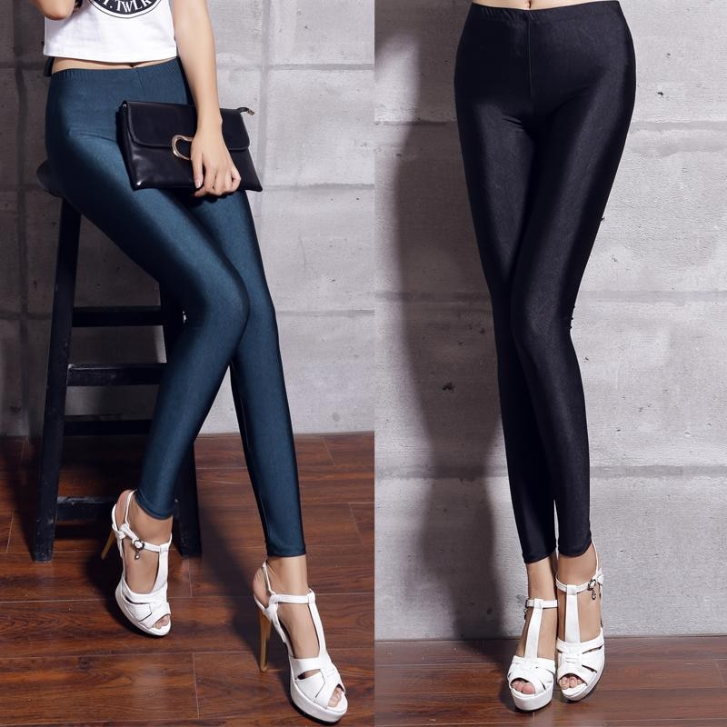 Womens shiny lycra neon spandex leggings ladies plus size black women leggings high waist stretch skinny shiny spandex leggings