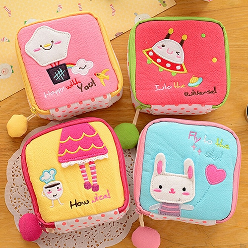 AliExpress - Girl's Cute Cartoon Sanitary Napkin Towel Pads Small Bag Purse Holder Organizer C1L5