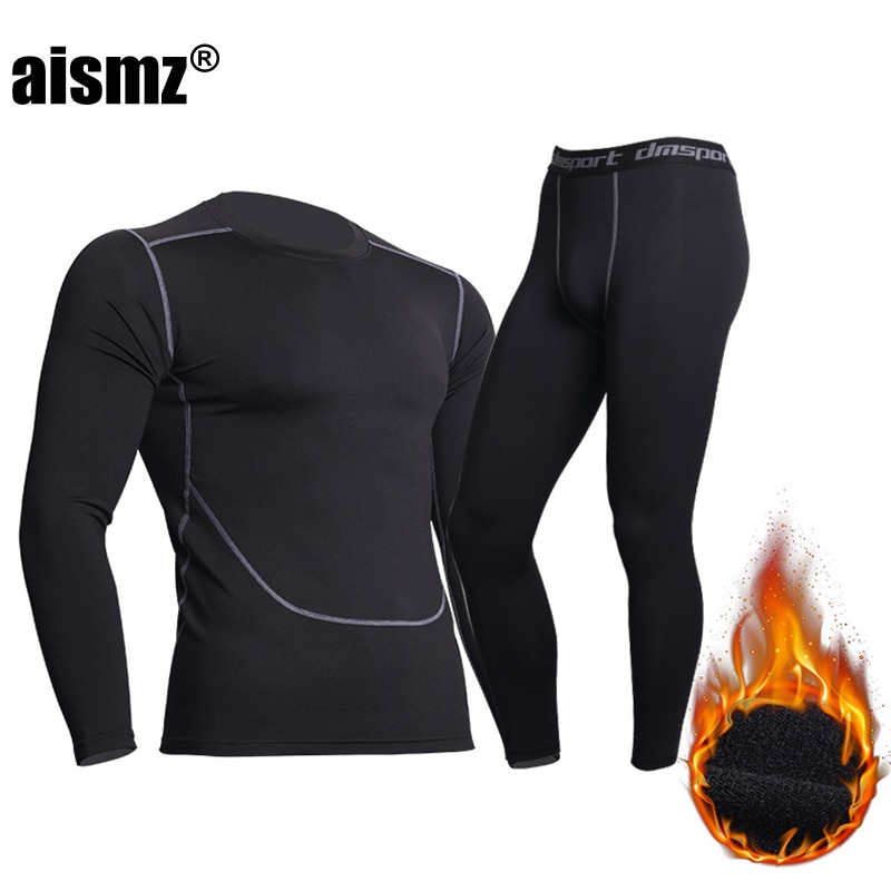 Aismz Winter Thermal Underwear Men Warm Fitness Fleece Legging Tight Undershirts Compression Quick D