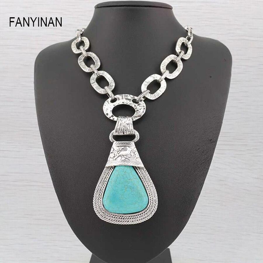 Summer Brand fashion big  stone tturquoise  Necklace& Pendant  Bohemia style  Popular Choker jewelry wholesale