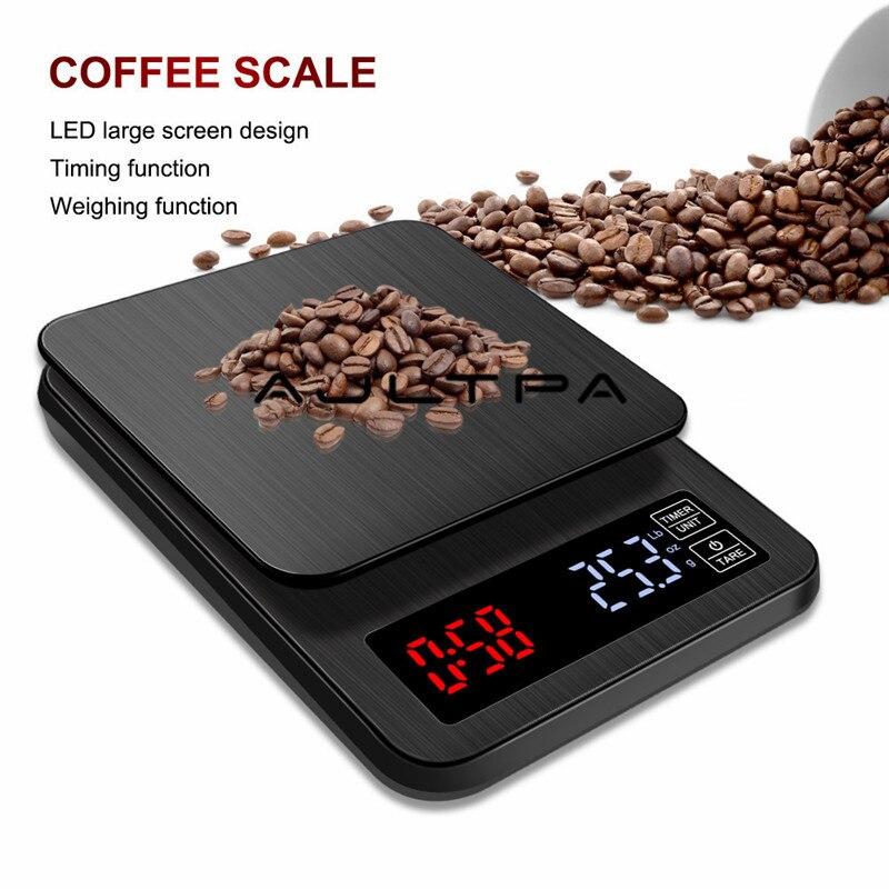 ميزان القهوة الإلكتروني الرقمي الصغير LCD ، 30 قطعة ، مؤقت 3 كجم/5 كجم/10 كجم ، وزن 0.1 جرام ، مقياس بالتنقيط المنزلي