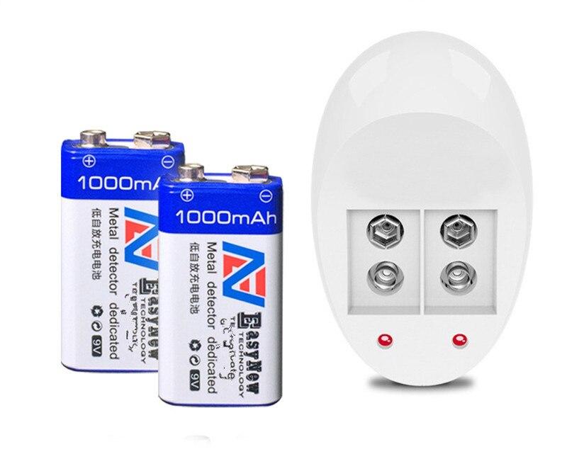Оптовая продажа Новый 2 шт 1000mAh супер большой 9 v литий-ионная 9 вольтовая батарея Hersteller garantie + 1 шт 9 V зарядное устройство