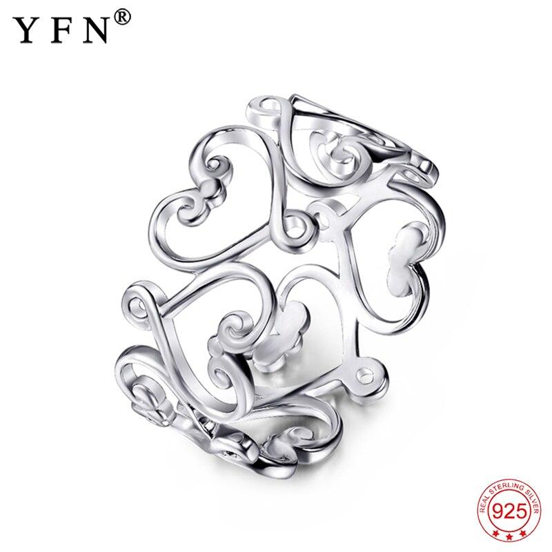 100% real 925 anéis de prata esterlina feminino adorável filigrana oco anéis moda jóias & acessórios presentes para os amantes gnj0756