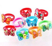 QianBei vente en gros nouveaux enfants 20 pièces Lot mélange couleur papillon bébé enfant fille fête polymère argile bagues