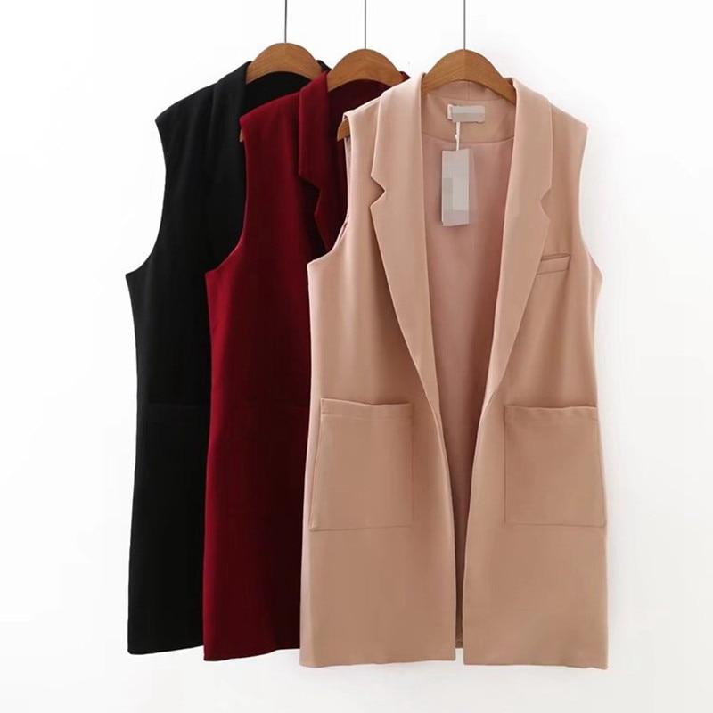 5XL Plus Size Female Vest 2020 New Spring Women's Jacket Waistcoat Black Long Veste Femme Korean Fashion Sleeveless Coat Casual