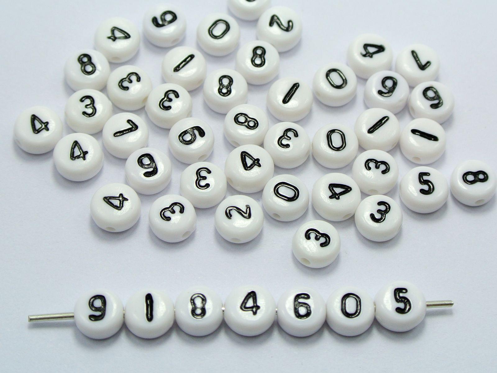 500 preto em branco sortido número acrílico moeda grânulos 4x7mm