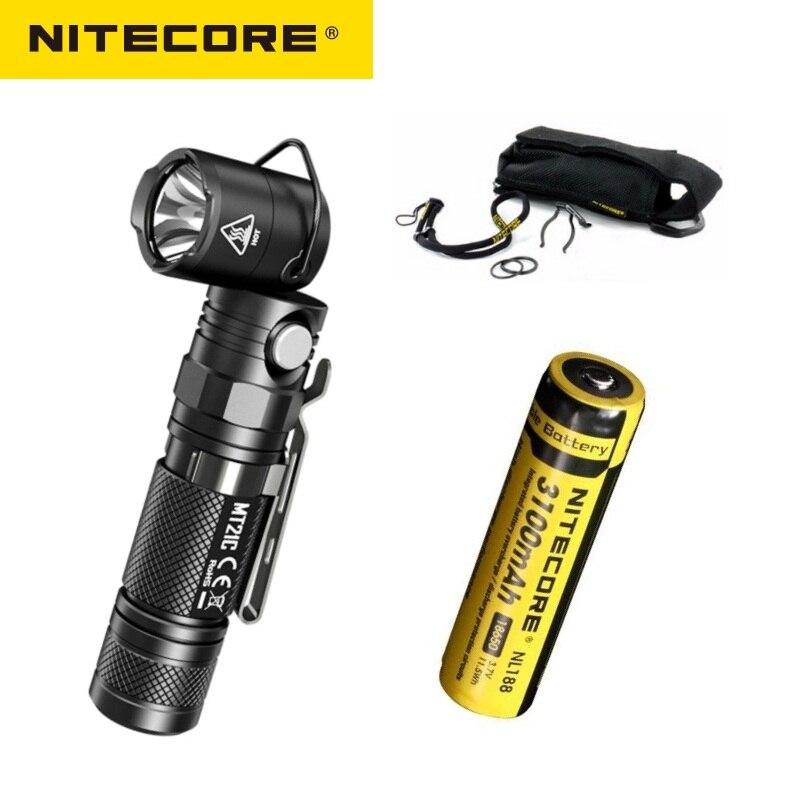 Nitecore mt21c tocha anglelight cree XP-L hd v6 1000lm 90 graus ângulo ajustável cabeça lanterna led por 18650 bateria