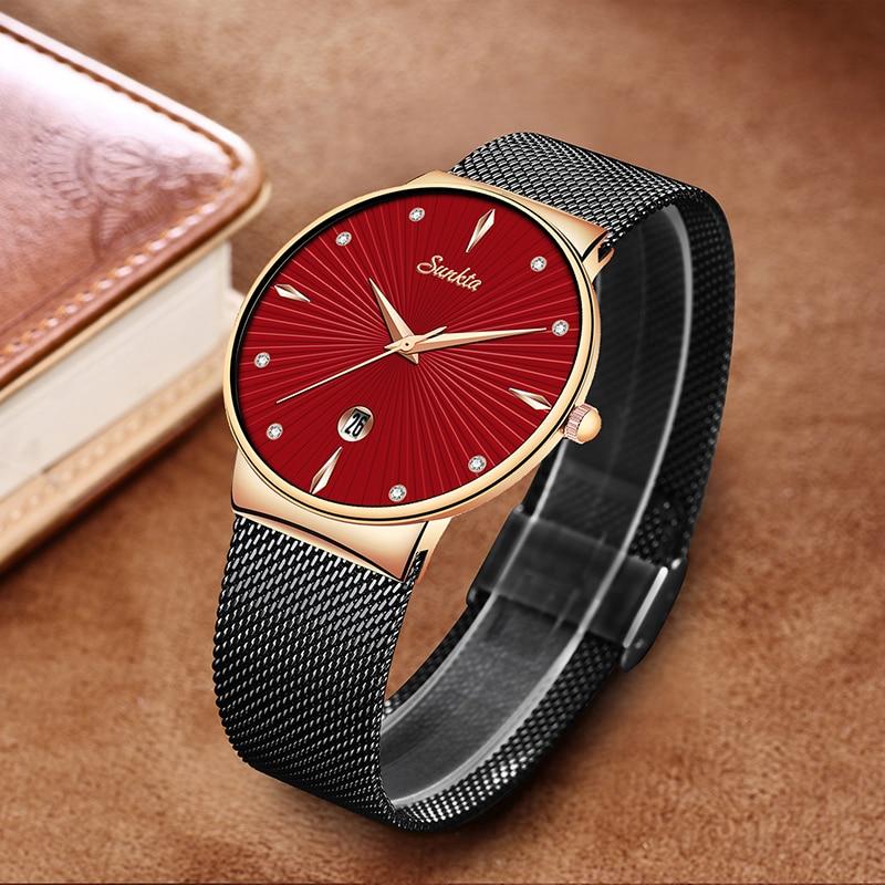 Montre Femme Modern Fashion Black Quartz Watch Women Mesh Stainless Steel Bracelet High Quality Casual Wrist Watch for Woman+Box enlarge