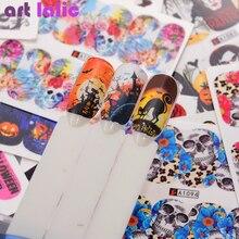 48Pcs/Set DIY Halloween Ghost Pumpkin Castle Skull Nail Art Water Transfer Sticker Manicure Decor Tools Watermark Stickers