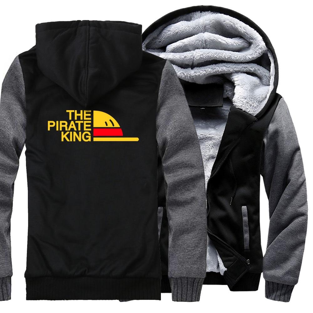 THE PIRATE KING Print Hip Hop Hoodies For Men 2018 New Fashion Streetwear Jacket ONE PIECE Anime Harajuku Men's Sweatshirt Coats