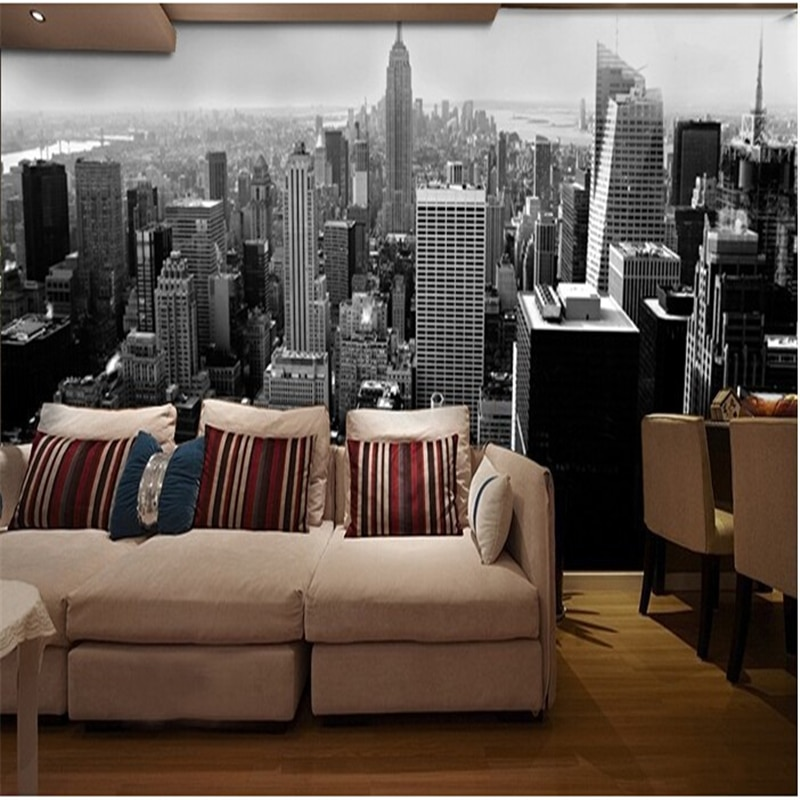 naked new york paper beibehang 3d wall paper Simple black architectural style city building in Manhattan New York wall mural wallpaper wall paper