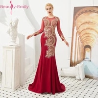 beauty emily lace beads mermaid evening dress long 2020 o neck full sleeve floor length evening party prom dress formal gowns