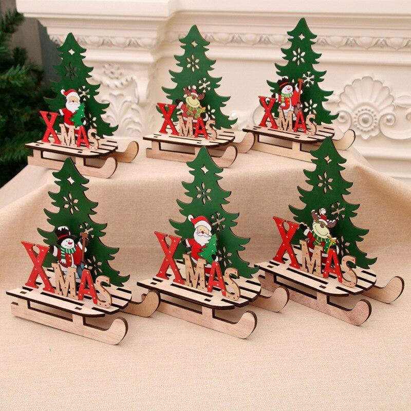 Colgantes de madera con forma del árbol de Navidad, 1 unidad, regalos DIY de Papá Noel/muñeco de nieve, árbol de Navidad, ciervos, decoración para fiesta de Navidad para niños
