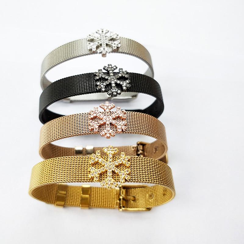 5Pcs Fashion Jewelry Watch Belt Bracelet,Micro Pave CZ snowflake Shape Spacers Charm Adjustable Bangle for XMAS Gifts BG247