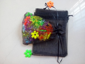 100pcs 17*23cm Black Organza Gift Bag Jewelry Packaging Display Bags Drawstring Pouch For Bracelet/necklace Mini Yarn Bag
