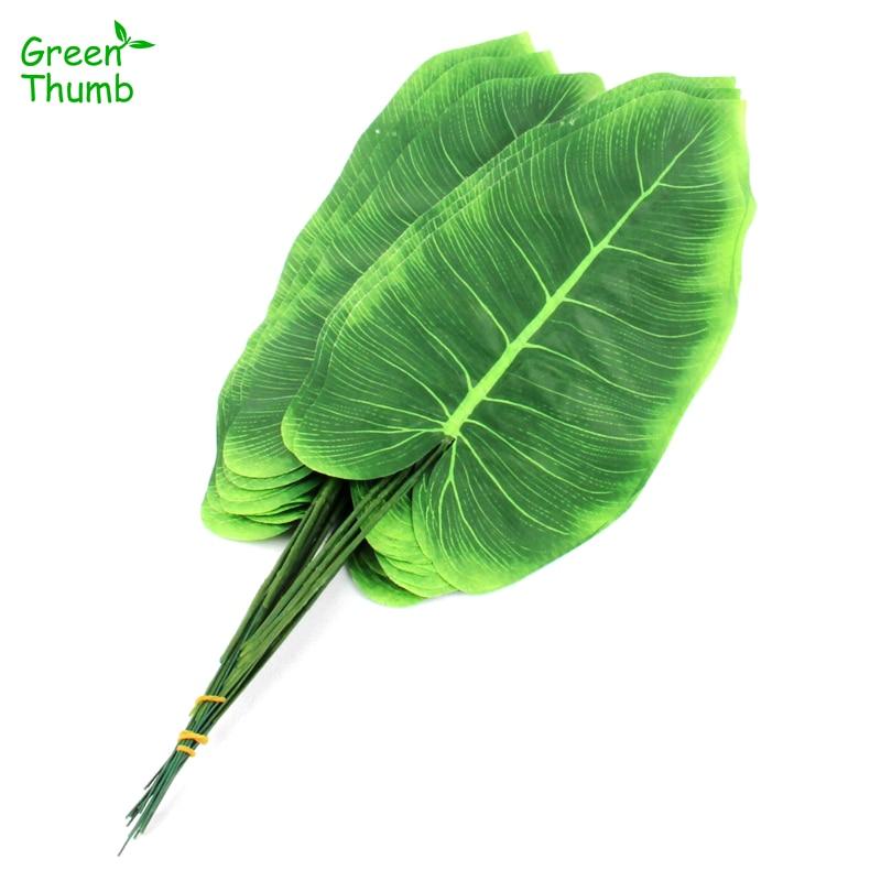 60 uds. Plantas artificiales verdes imitación elefante Tropical oreja hojas decoración del hogar hoja de Canna decoración de la habitación del hogar flor