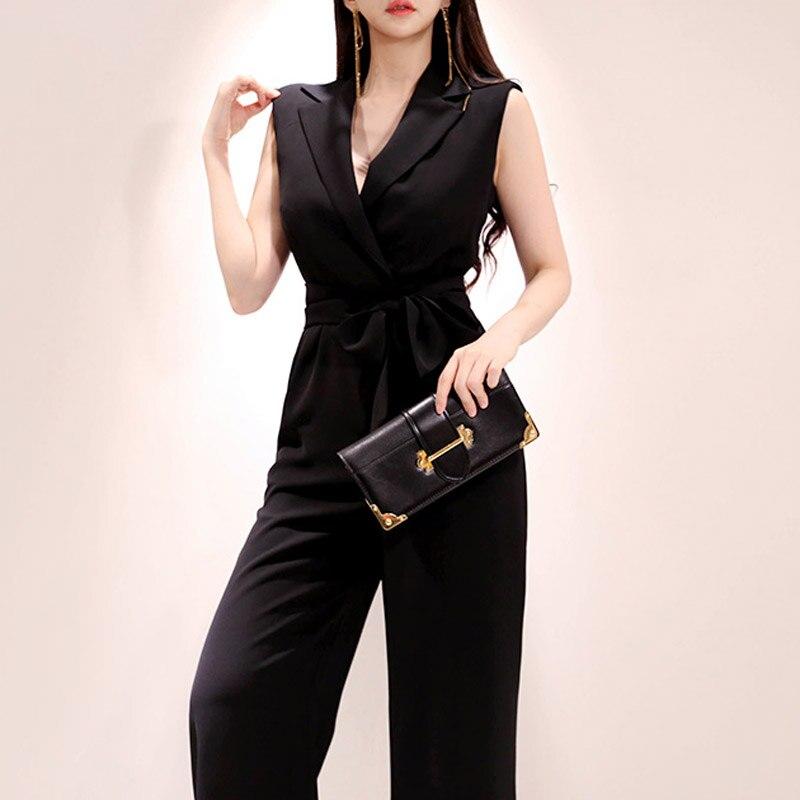 CINESSD Fleabag Jumpsuit para mujer pantalón largo suelto traje de monos sin mangas cuello pico gótico de una pieza macacao feminino