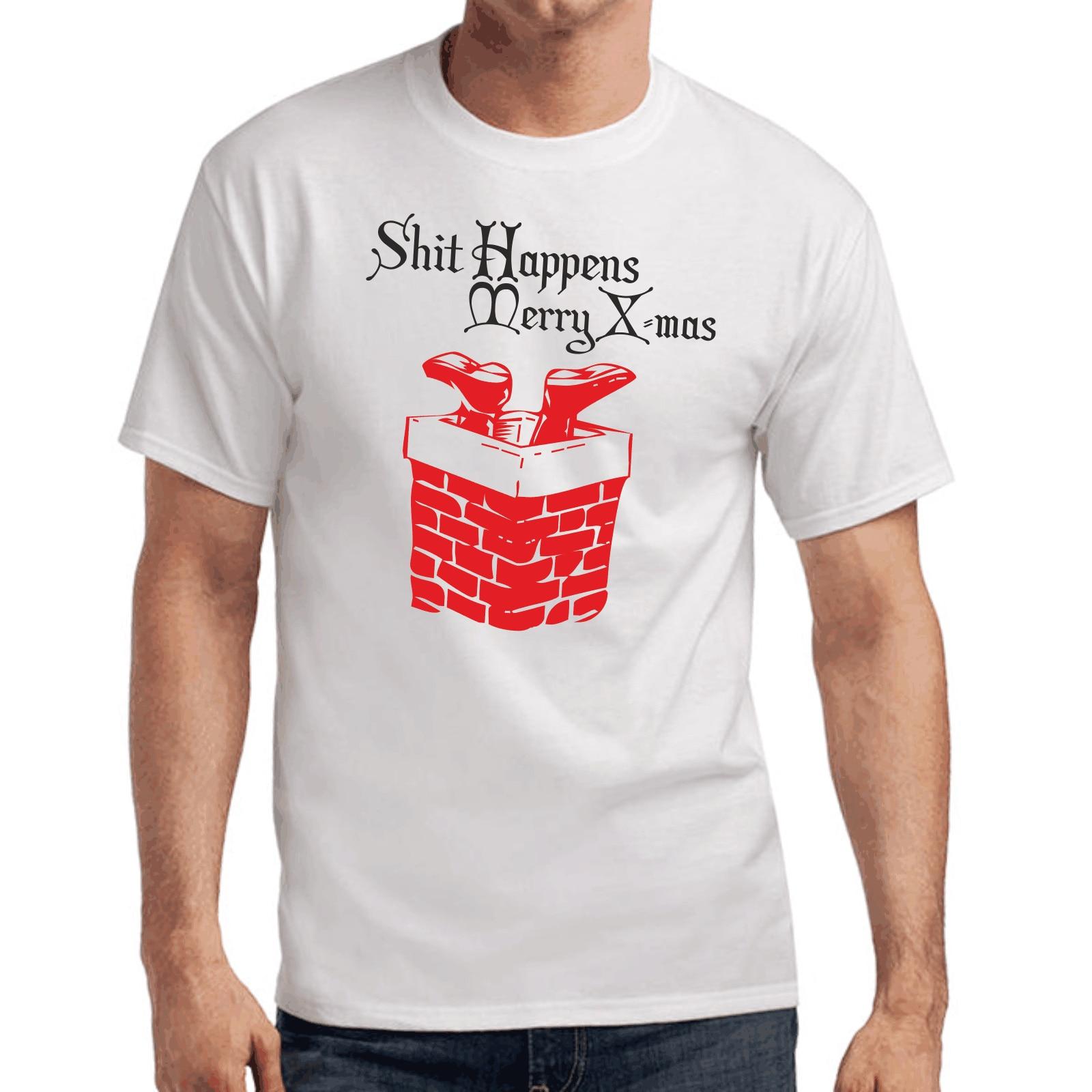 Mierda sucede. feliz x-mas   Weihnachten   navidad   diversión   S-3XL camiseta Moda hombre Camiseta envío gratis Top Tee
