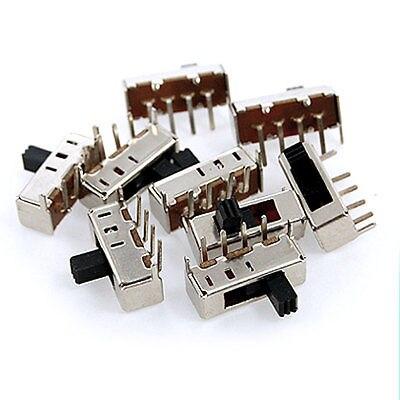100 piezas 5mm Panel de perilla lateral alto PCB 4 pines 3 posiciones 1P3T SP3T interruptor deslizante perilla lateral 0.5A 50 V DC SS13F24