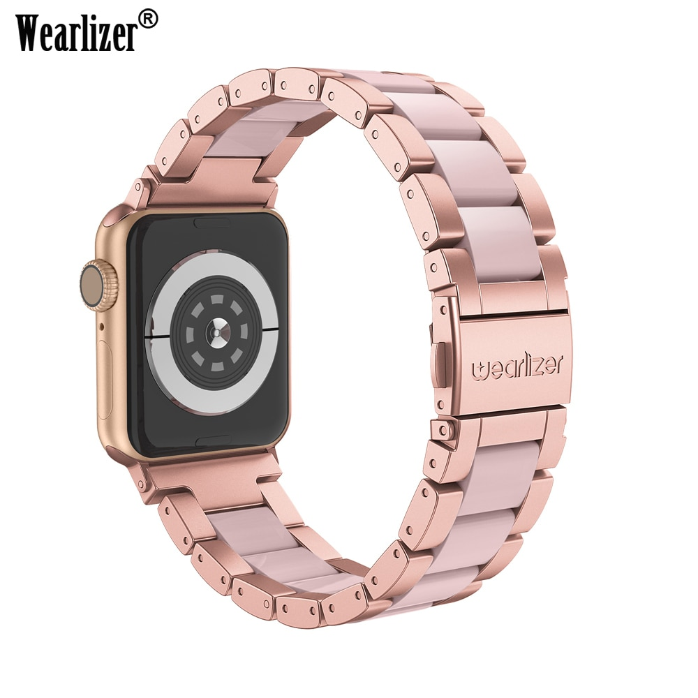 AliExpress - Wearlizer For Apple Watch Band Stainless Steel Strap for Apple Watch Series 5 4 3 2 1 Clasp Butterfly Watchband for Apple Watch