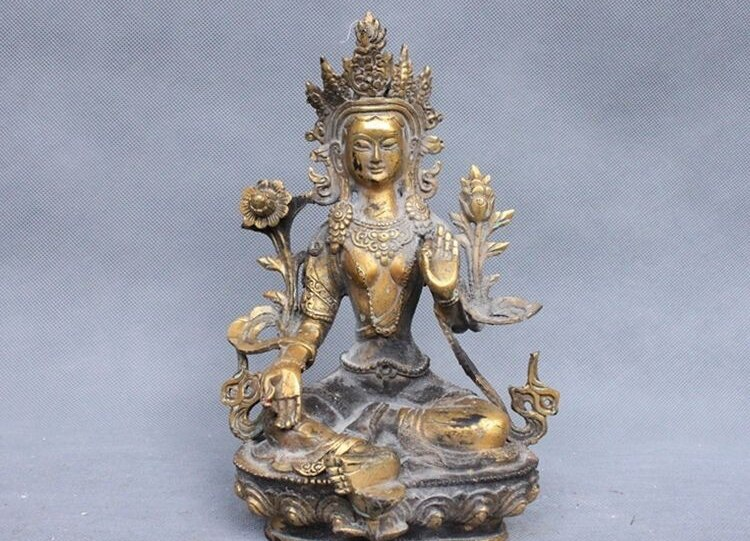 8 Joss Budismo Tibetano Buda Tara Verde bronce dorado estatua kwan-yin a 0518
