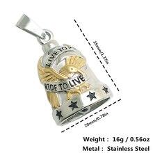 Restock unisexe 316L acier inoxydable Ride à vivre, en direct à monter Cool aigle étoiles Biker ont son anneau cloche pendentif nouveau cadeau