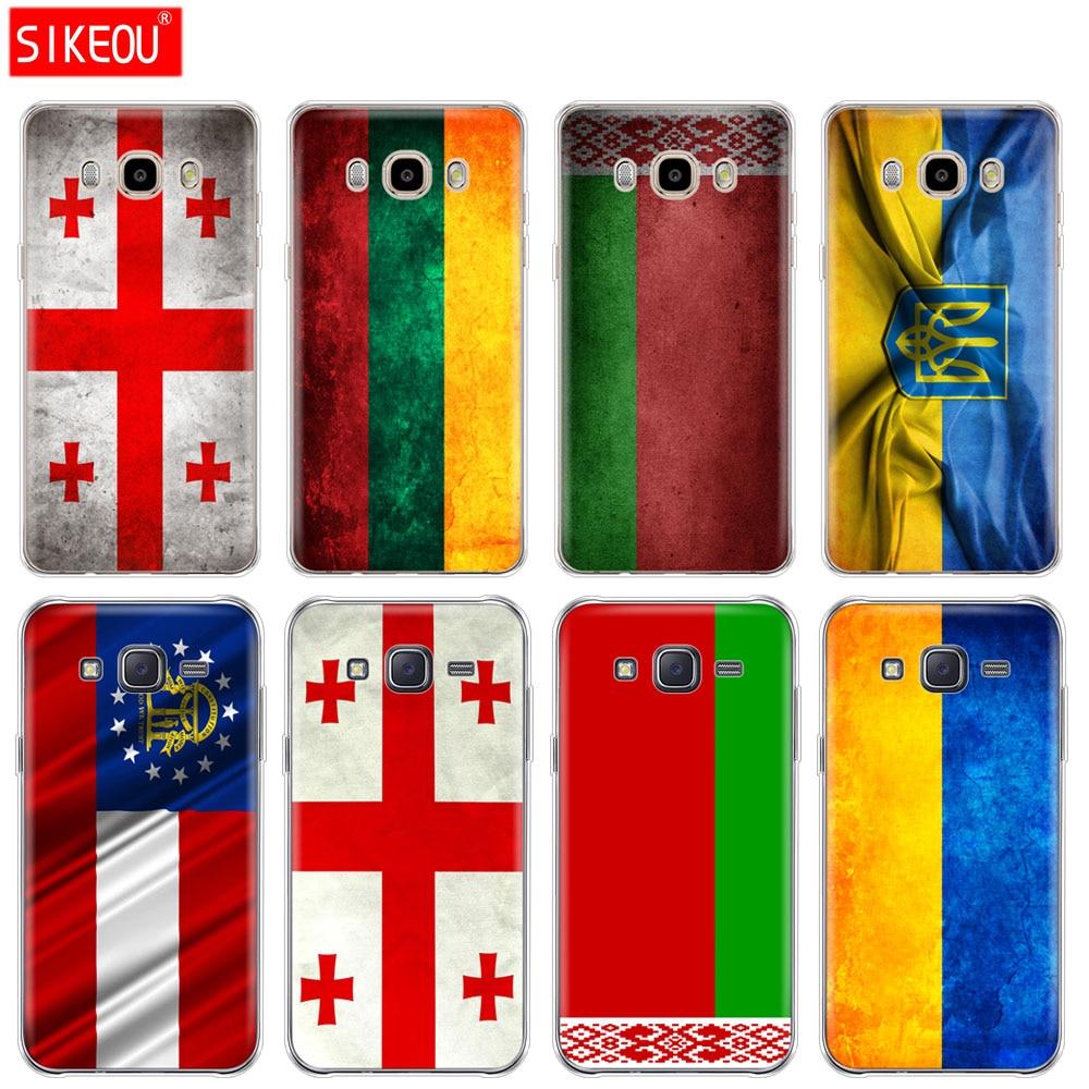 Funda de silicona para teléfono funda para Samsung Galaxy J1 J2 J3 J5 J7 MINI 2016 2015 prime Bandera de Georgia, Lituania y Bielorrusia