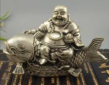 China Zilver Brons Gelukkig Maitreya Boeddha Monnik Rit Vis Standbeeld