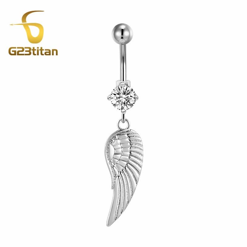 G23titan Summer Bikini Beach Sex Naval Rings G23 Titanium Barbell Piercing Ombligo Feather Pendant Belly Jewelry