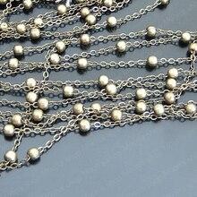 Wholesale Antique Bronze Copper 2mm Width Link Chains with Diameter 4mm Bead Accessories 5 Meter (JM2628)