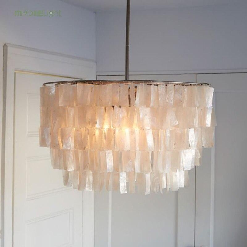 Candelabros modernos de concha Capiz blanca, lámparas colgantes Lustre para iluminación, lámpara colgante para restaurante, lámpara colgante, lámpara de avize