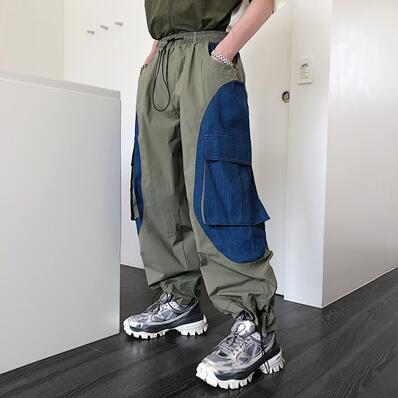 2019 Summer popular logo web celebrity overalls men's trend straight loose drawstring leg pants M-XL