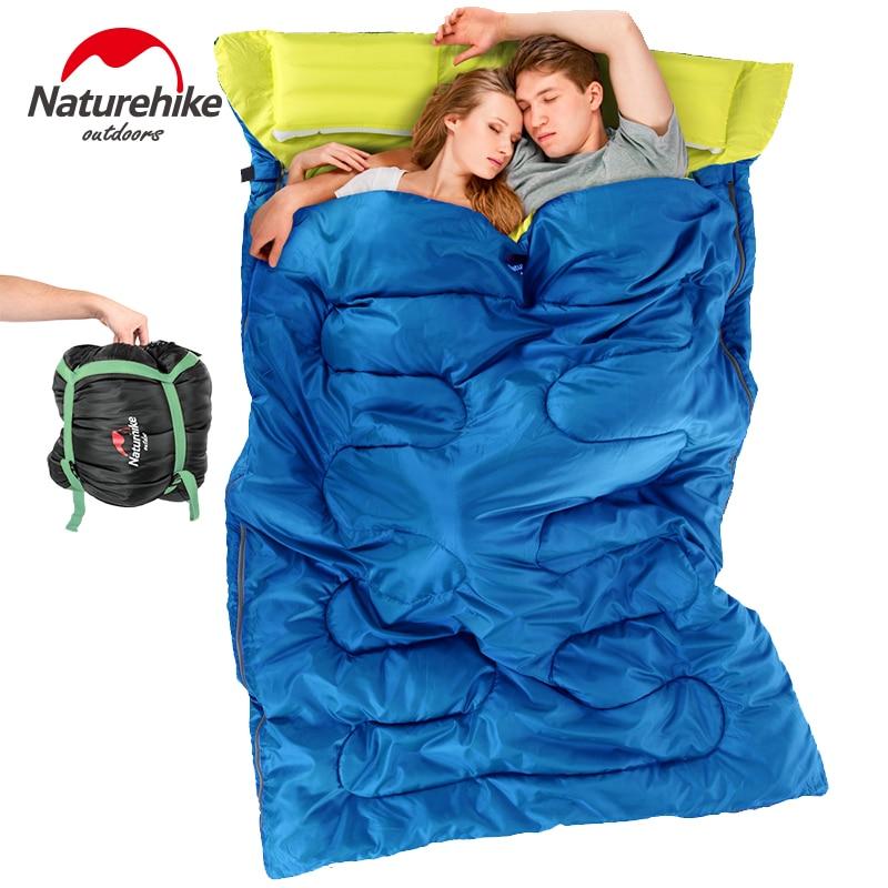 Bolsa de dormir doble NatureHike 8/12 algodón con almohadas, bolsas de dormir de invierno, bolsa de dormir grande para dos personas SD15M030-J