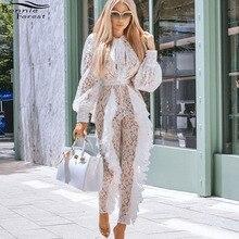 Bonnie Forest Sexy dentelle personnalisé pulls femmes à manches longues noeud cou élégant blanc voir à travers combinaison barboteuses