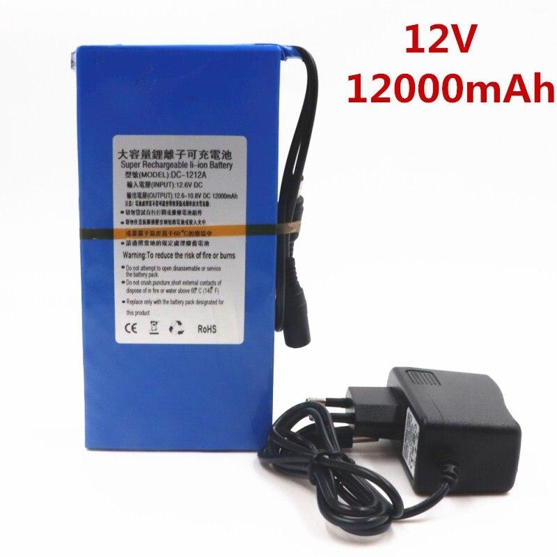 100% DC 1212A 12V 12 v de Litio-ion 12000mAh pack de batería recargable 12,6 V 1.2Ah de la energía del cargador de CA con indicador de carga + cargador