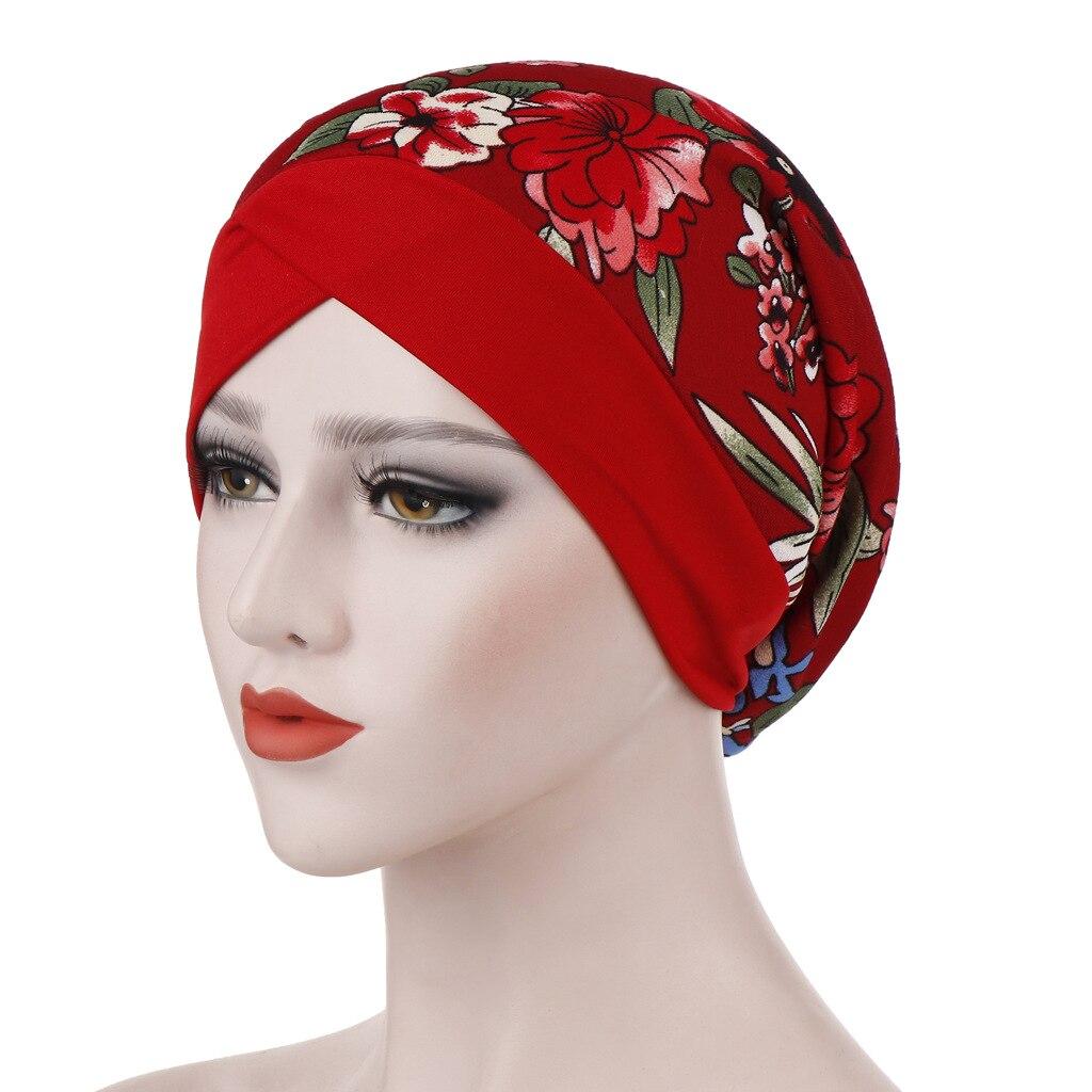 Muslim Hijab Headscarf Fashion New Sleeping Cap Forehead Cross Wrap Hat Turbans for Women Islamic Head Bonnet Hat