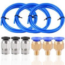 3 pièces Tube téflon Tube bleu PTFE (1.5 mètres) avec 3 pièces raccords de PC4-M6 et 3 pièces PC4-M10 mâle droit pneumatique PEF