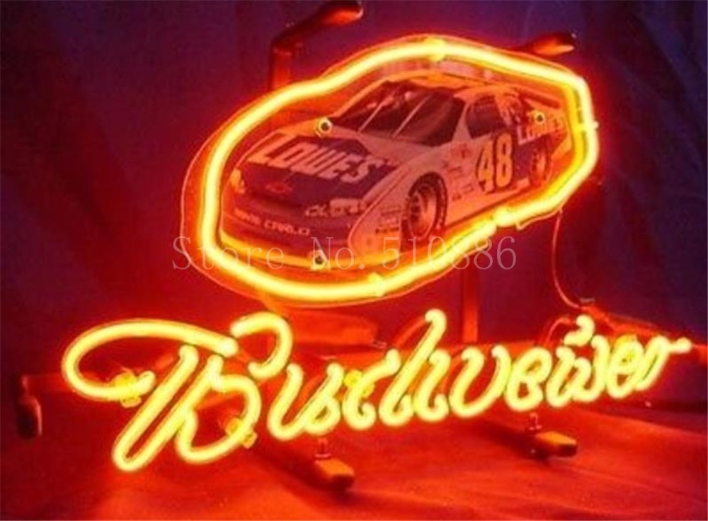 """Letrero de neón para el nuevo Budweiser Nascar #48, letrero de coche de carreras, cerveza de vidrio REAL, BAR, PUB, tienda de exhibición, señales de luz personalizadas 17*14"""""""